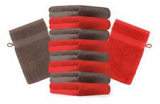 Betz 10 Waschhandschuhe Waschlappen Waschhandschuh PREMIUM 16x21cm rot / nuss