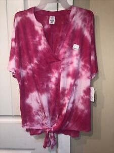 Time and Tru Pink And White Maternity Shirt w Front Tie Size Medium (8-10) NWT