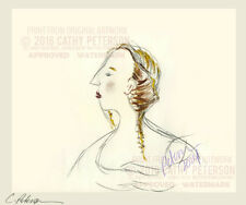 Head of a lady in profile DRAWING Signed ART PRINT = Cathy Peterson = LISTED