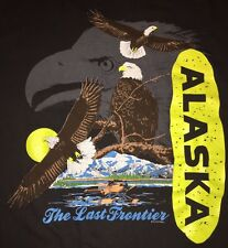 VTG 90s ALASKA The Last Frontier American Bald Eagle Seaplane T-Shirt 1990 XL