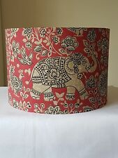 FABRIC DRUM LAMPSHADE 30cm INDIRA ELEPHANT CHILLI RED COUNTRY COTTAGE FARM