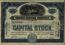 Magma Copper Company Stock Certificate Maine Mining Blue