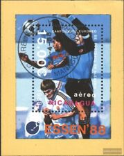 Nicaragua block178 (complete issue) used 1988 Football-european
