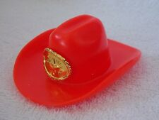 Barbie Doll Red Plastic Cowboy Hat With Gold Color Star