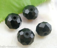 210 Pcs Black Crystal Glass Faceted Rondelle Beads 5040 8mmx6mm