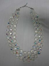 STUNNING VINTAGE FACETED CRYSTAL 3 TRIPLE STRAND NECKLACE ~ SO SPARKLY!