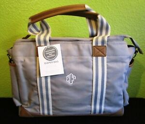 NWT Pottery Barn Diaper Bag Classic Tote Carry Gray White Changing Pad Large Sz