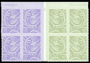 Scott 3998-99, the 2006 Se-Tenant Wedding Doves Gutter Block of 8 with plate No.