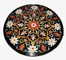 18x18 Inch Marble Coffee Table Top Inlay Corner Table with Unique Floral Design