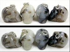 1 DENDRITIC AGATE Crystal Skull Pendant or Pendulum - Sterling Silver Bale