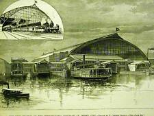 NEW STATION PENNSYLVANIA R.R. JERSEY CITY NJ 1891 Antique Print Matted