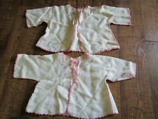 2 Vtg Infant or Doll Over Jacket Hand Embroidered Pink Crocheted Edge