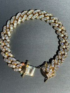 Mens Miami Icy Cuban Bracelet Yellow Gold Over Stainless Steel 12mm Iced Hip Hop