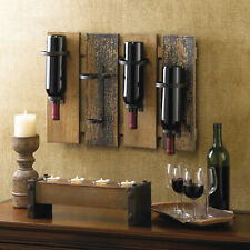 WINE HOLDER: Hanging Rustic Wooden Four Bottle Wall Rack NEW