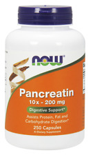 Pancreatin 10X 200 mg 250 Capsules by NOW Foods *Free Shipping*