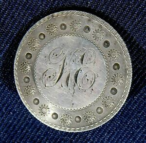 ARTISAN COIN Silver Engraved K E HANDMADE Antique ROUND PIN 1861 Estate
