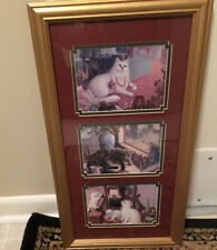 Cat Theme Framed & Matted Picture Country Farmhouse Calico & Long Haired Vintage