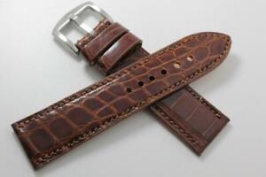 Handmade Genuine Brown Alligator Flank Leather Watch Strap (Made in U.S.A)