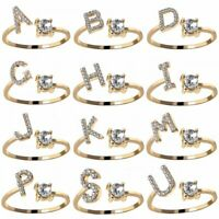 26 Capital Crystal Letters Cubic Zirconia Gold Knuckle Rings Finger Party Women