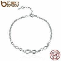 BAMOER S925 Sterling silver Women Bracelet Chain Endless elegance & CZ Jewelry