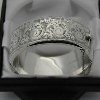 1961 Vintage Wide & Heavy 925 Silver 1/2 Engraved Scroll Design Bangle Bracelet