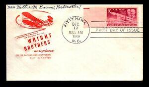 1949 Kitty Hawk FDC / Farnam Cachet - N222