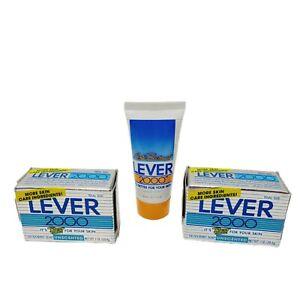 2pc Lever 2000 Unscented Deodorant Soap .1 OZ Trial Sz NOS 1994 Free Liquid Soap
