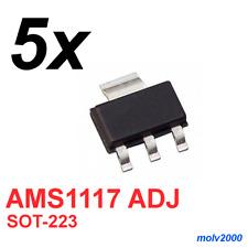5x Regulador Tension Baja Perdida AMS1117 1117 ADJ 1A - VOLTAGE REGULATOR SOT223
