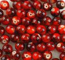 100Pcs 6mm Red Lampwork Round Glass Spacer Loose Beads Free Ship