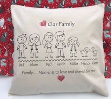 Personalised Stick People Family tree Cushion Cover - gift, Christmas, mum, dad