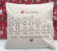 Personalised Stick People Family tree Cushion Cover 45 x 45cm cotton canvas