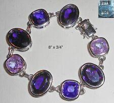 "Sterling Silver & Purple Crystal Faceted Stone Bracelet! 8"""