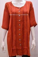 PLUS SIZE RENAISSANCE BOHO GYPSY HIPPY EMBROIDERY TUNIC TOP BROWN FREESIZE 22-30
