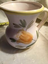 Small Ceramic Water Pitcher White w Yellow Flower Design Dated 1977 Relpo