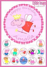 Peppa Pig 19cm PERSONALISED Cake topper plus 12 cupcake toppers on THICK card