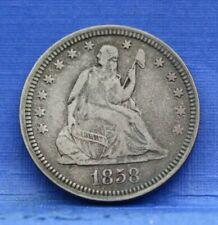 1858 SEATED LIBERTY QUARTER FINE F