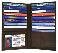 Brown Leather Men's Organizer Long Hipster Wallet 19 Card ID Checkbook Holder