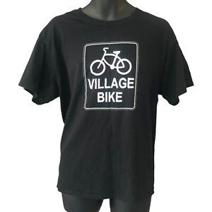 Village Bike Men's T Shirt 2XL Black White Logo Hanes