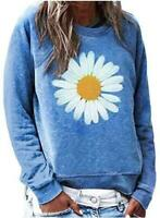 FARYSAYS Women's Casual Funny Graphic Crewneck Long, Blue Daisy, Size X-Large Ux