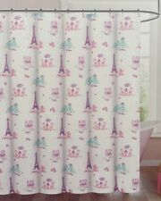 NEW NICOLE MILLER I LOVE PARIS EIFFEL TOWER POODLE 72x72 FABRIC SHOWER CURTAIN