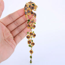 Topaz Leopard Panther Brown Austrian Crystal Brooch Pin Animal Gold Plated Women