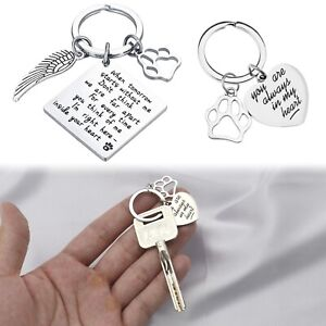 Pets Memorial Jewelry Gifts Always In My Heart Key Rings Chains Cats Paws Prints