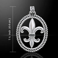 Fleur de Lis .925 Sterling Silver Pendant by Peter Stone Jewelry