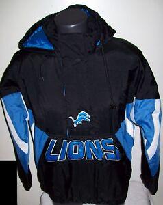 DETRIOT LIONS Starter Hooded Half Zip Pullover Jacket S M L XL 2X BLACK
