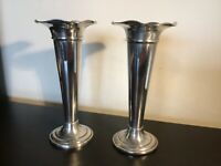 Antique vintage Mappin  and Webb heavy silver prince's plate stem vases
