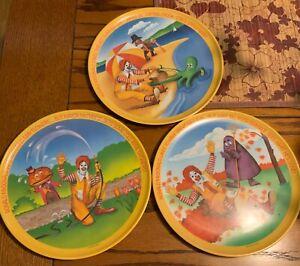 "Vintage 1977 Ronald McDonald 10"" Plates Lexington- Lot of 3 seasons"