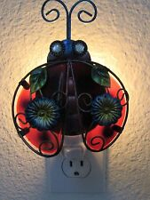 Night Light- Ladybug  Metal/Glass -red green blue black Hand painted Art