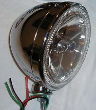 "7"" Tri Bar Blue Dot Street Rod Headlight LED w/ CHROME Dietz Bucket"