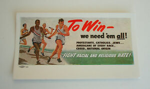 Rare 1940s Anti Racism Racial and Religious Bias Sports Ad Ink Blotter Unused
