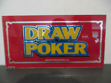 "Vintage Plaque Verre Machine à sous Casino ""Draw Poker"" IGT Nevada USA"